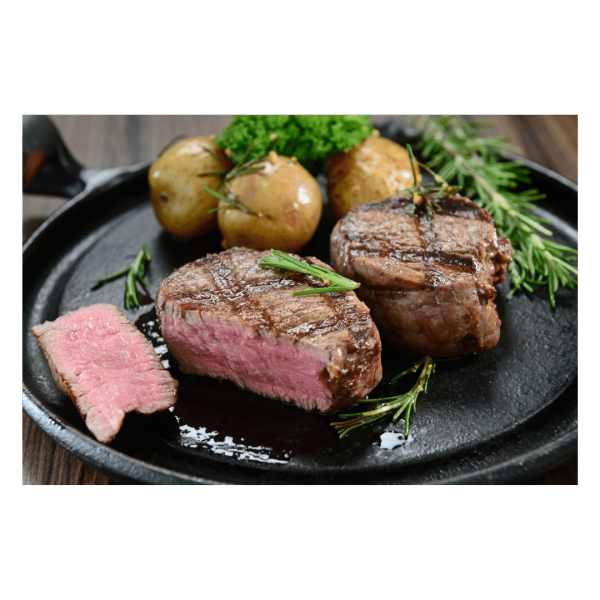 Scotch Fillet Meat Products Cooked On Black Plate