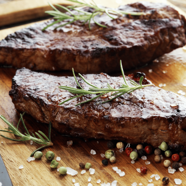 Rump steak served with rosemary